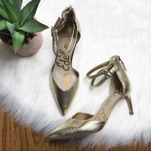 Sam Edelman Oriana Gold Heels Size 7.5